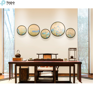 Wholesale Modern Landscape 400mm 500mm Circle Decorative Metal Framed Wall Painting