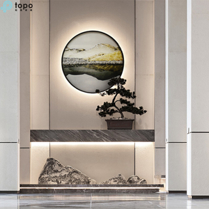 Chinese Style Decorative 400mm 500mm Circle Modern Art Glass Painting on Supply