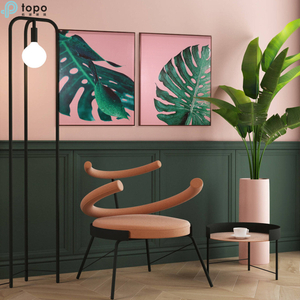 Nordic Style 3 Pieces H800mm*600mm Green Leaf Hanging Wall Living Room Glass Painting