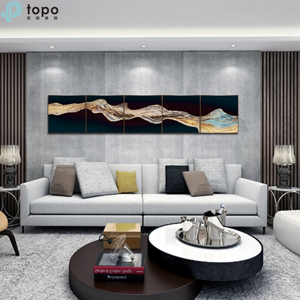 Fashional Style Abstract Art Glass Hanging Painting for Wall Decor